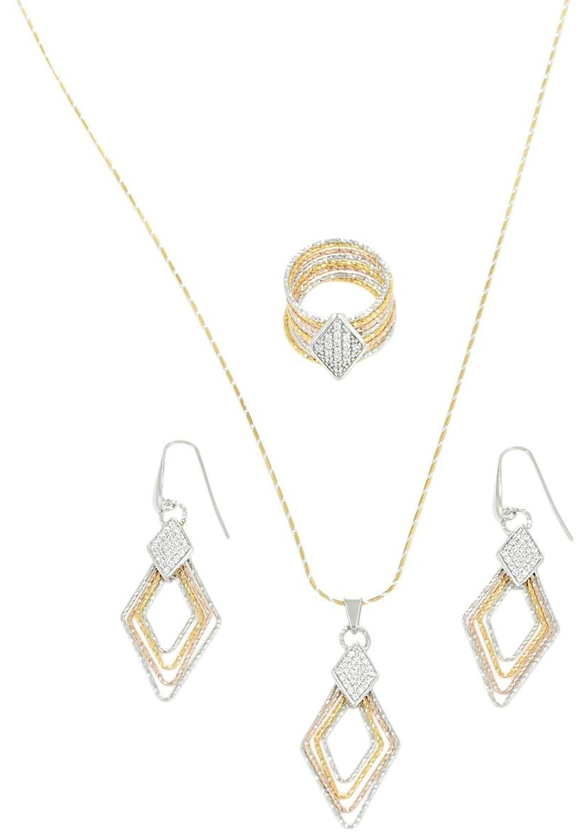 AK Jewels Silver Diagonal Shape Tricolor Italian Jewelry Set JWSET0029