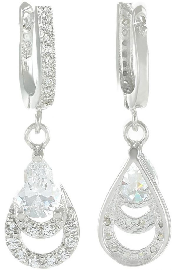 925 Silver Double Drop Dangling Earrings ER66