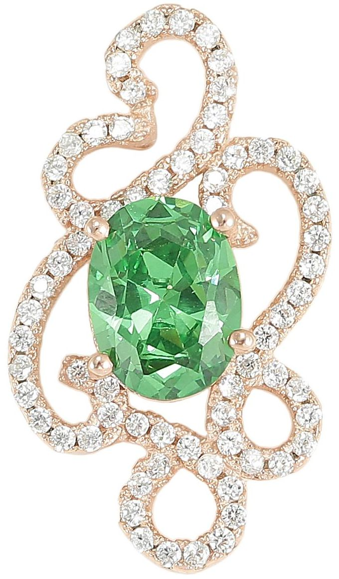 925 Silver Abstract Framed CZ Green Crystal Pendant PD45