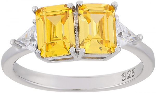 925 Silver Twin Yellow Crystal Ladies Ring RG077