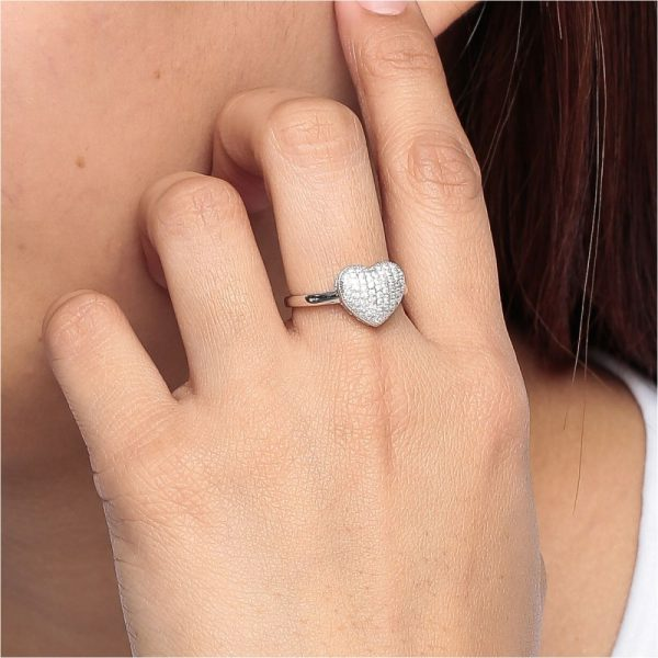 925 Silver Microset Heart Ring RG075