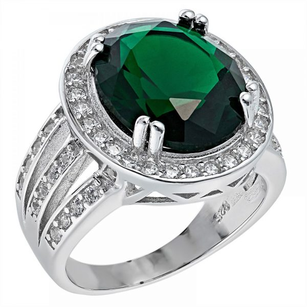 925 Silver Oval Frame with Green Crystal Ring LRG1039
