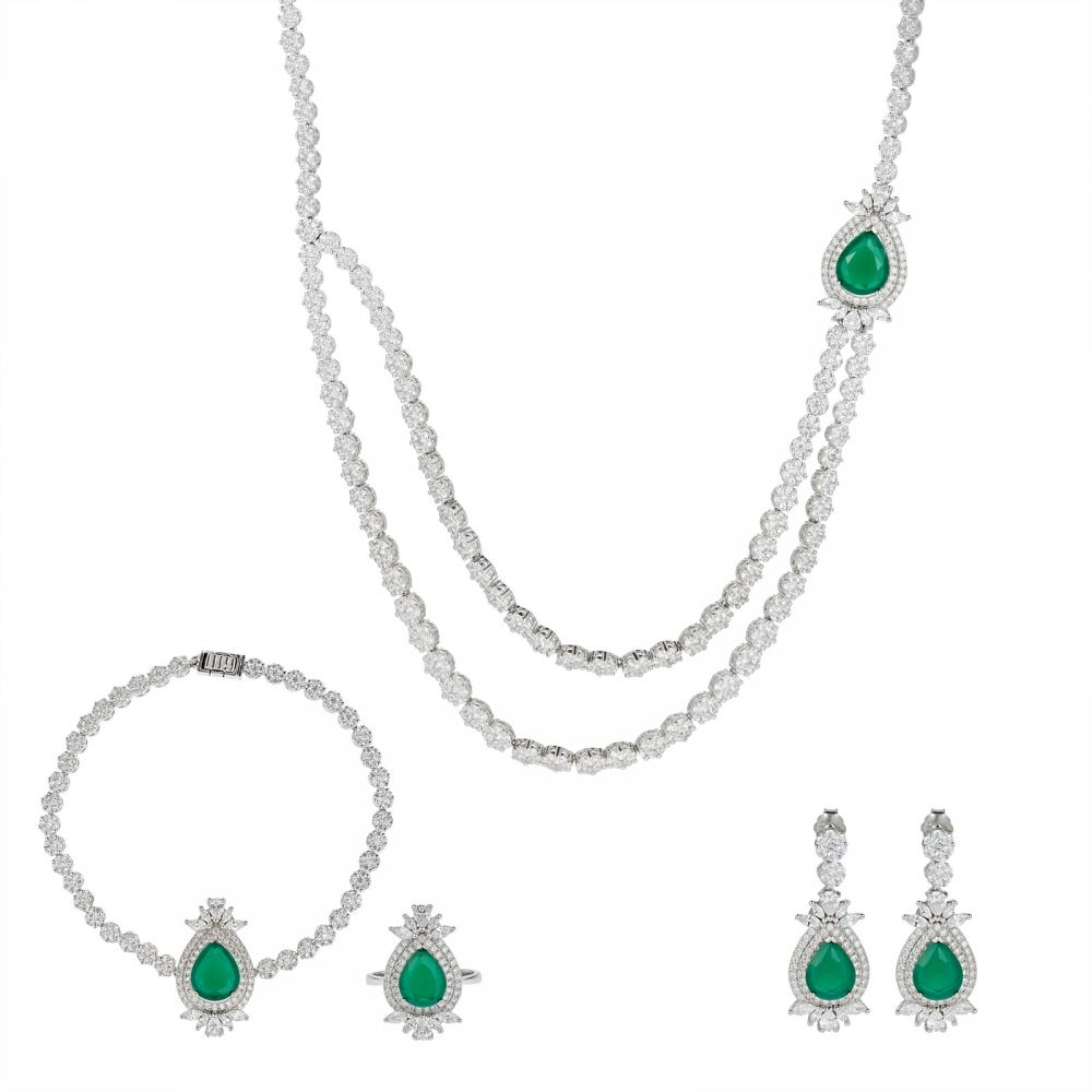925 Silver Microset Green Drop Flower Full Jewelry Set FS0008
