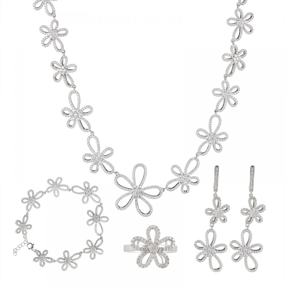 925 Silver Flower Full Jewelry Set FS0001