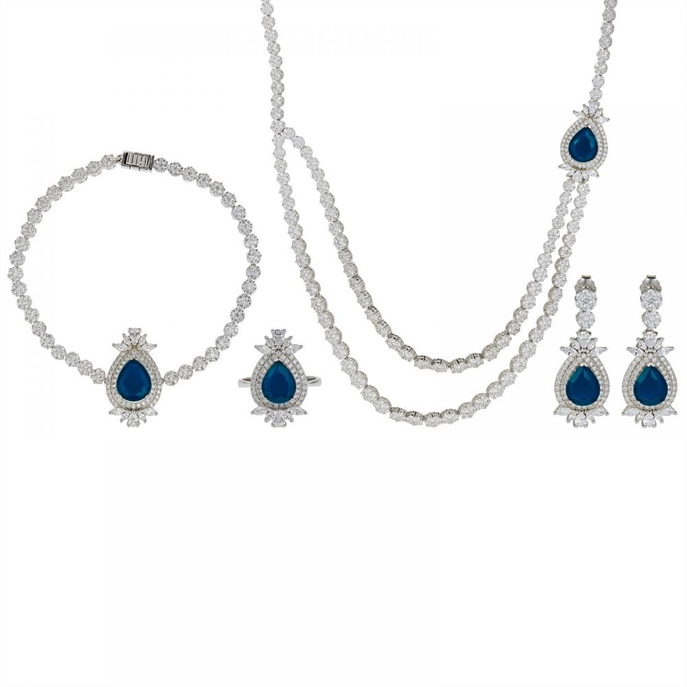 925 Silver Microset Blue Drop Flower Full Jewelry Set FS0009