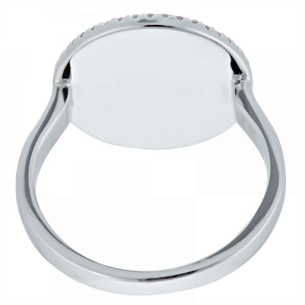 925 Silver Round Frame MOP with Butterfly Ring LRG1028