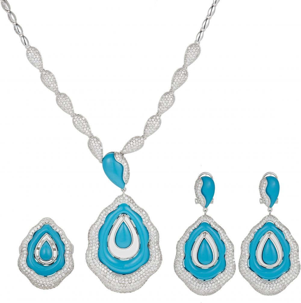925 Silver Microset with Blue Enamel Full Jewelry Set FS0013