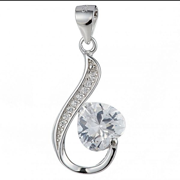 925 Silver Hook Type with Heart Crystal Pendant PD0023