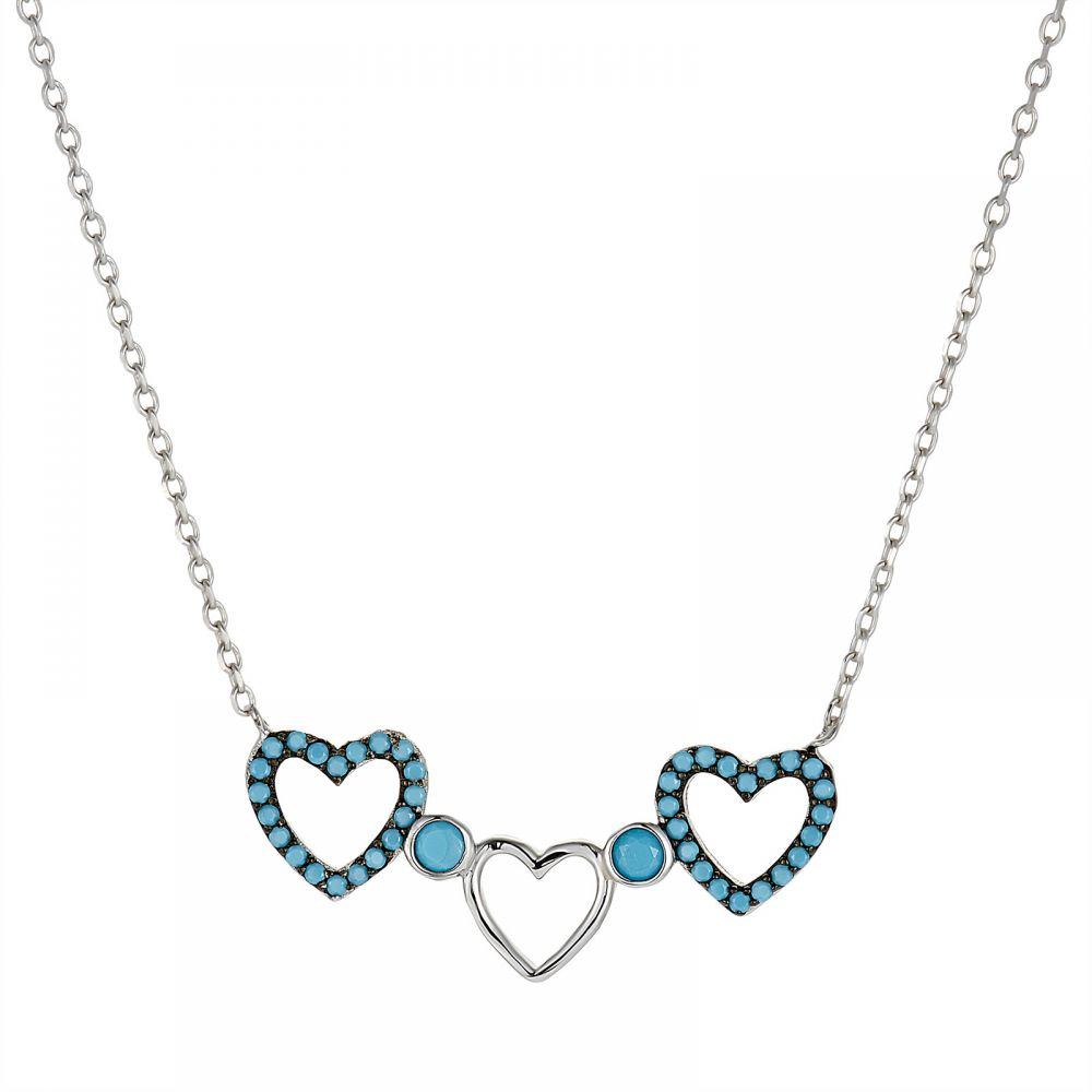 925 Silver Heart Turquoise Necklace NK1010