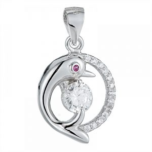 925 Silver Round Half Dolphin and CZ with Crystal Pendant PD0021